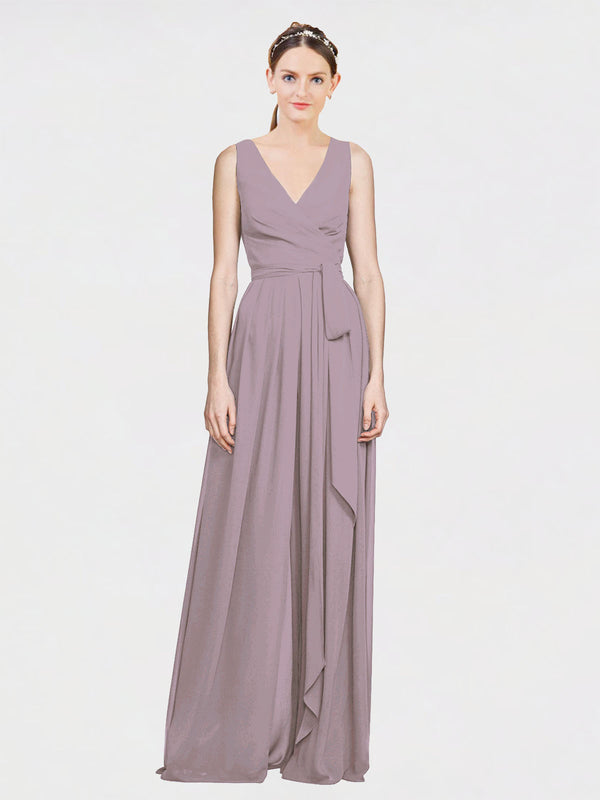 Mila Queen Kia Bridesmaid Dress Dusty Rose - A-Line V-Neck Long Bridesmaid Gown Kia in Dusty Rose