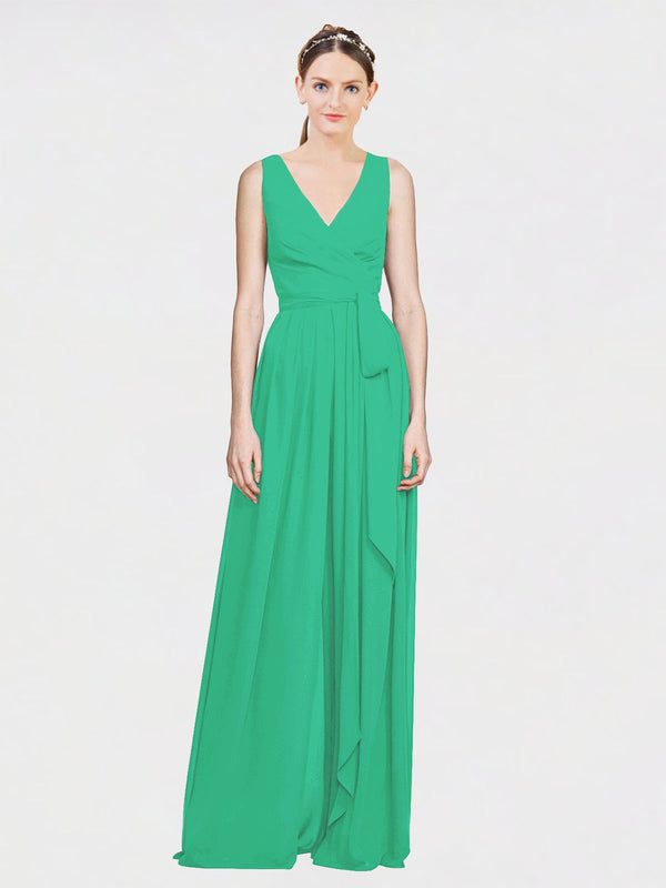 Mila Queen Kia Bridesmaid Dress Emerald Green - A-Line V-Neck Long Bridesmaid Gown Kia in Emerald Green
