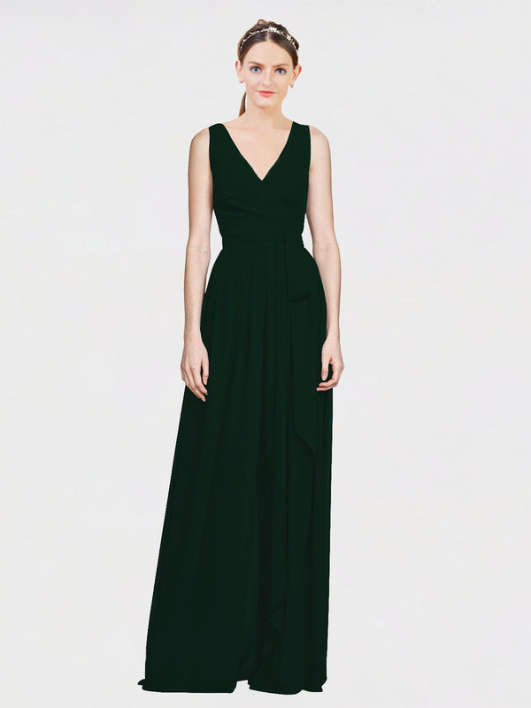 Mila Queen Kia Bridesmaid Dress Ever Green - A-Line V-Neck Long Bridesmaid Gown Kia in Ever Green