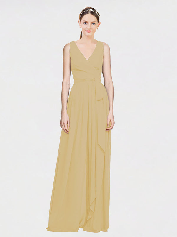 Mila Queen Kia Bridesmaid Dress Gold - A-Line V-Neck Long Bridesmaid Gown Kia in Gold