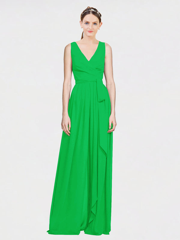 Mila Queen Kia Bridesmaid Dress Green - A-Line V-Neck Long Bridesmaid Gown Kia in Green