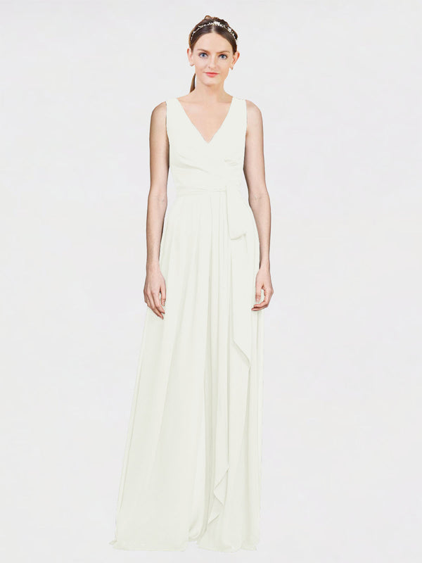 Mila Queen Kia Bridesmaid Dress Ivory - A-Line V-Neck Long Bridesmaid Gown Kia in Ivory