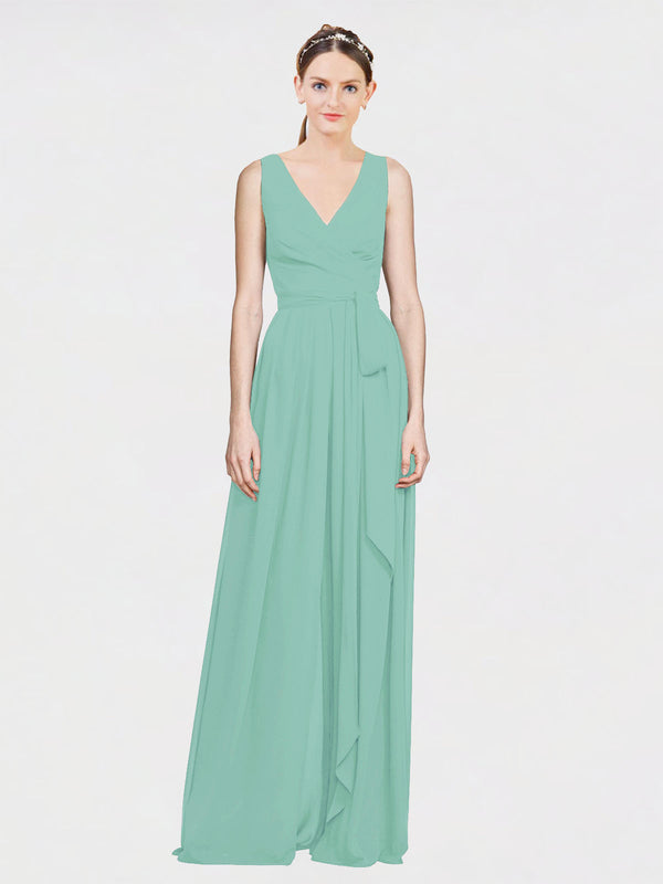 Mila Queen Kia Bridesmaid Dress Jade - A-Line V-Neck Long Bridesmaid Gown Kia in Jade