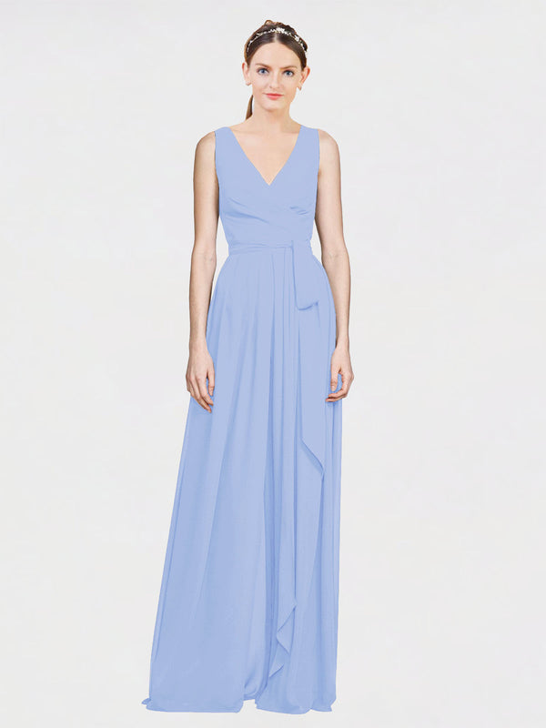 Mila Queen Kia Bridesmaid Dress Lavender - A-Line V-Neck Long Bridesmaid Gown Kia in Lavender