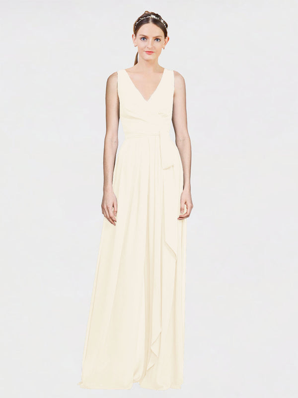 Mila Queen Kia Bridesmaid Dress Light Champagne - A-Line V-Neck Long Bridesmaid Gown Kia in Light Champagne