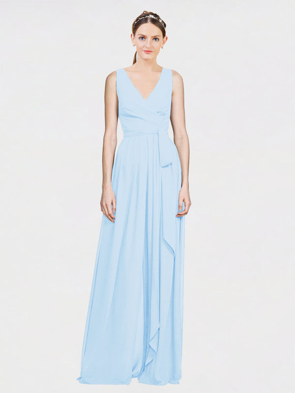 Mila Queen Kia Bridesmaid Dress Light Sky Blue - A-Line V-Neck Long Bridesmaid Gown Kia in Light Sky Blue