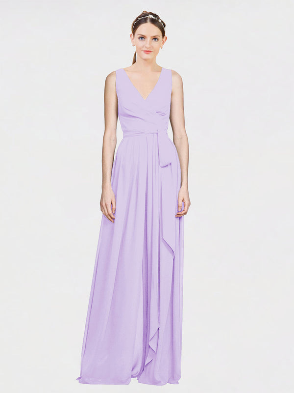 Mila Queen Kia Bridesmaid Dress Lilac - A-Line V-Neck Long Bridesmaid Gown Kia in Lilac