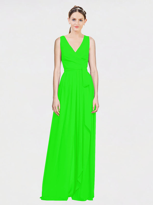 Mila Queen Kia Bridesmaid Dress Lime Green - A-Line V-Neck Long Bridesmaid Gown Kia in Lime Green