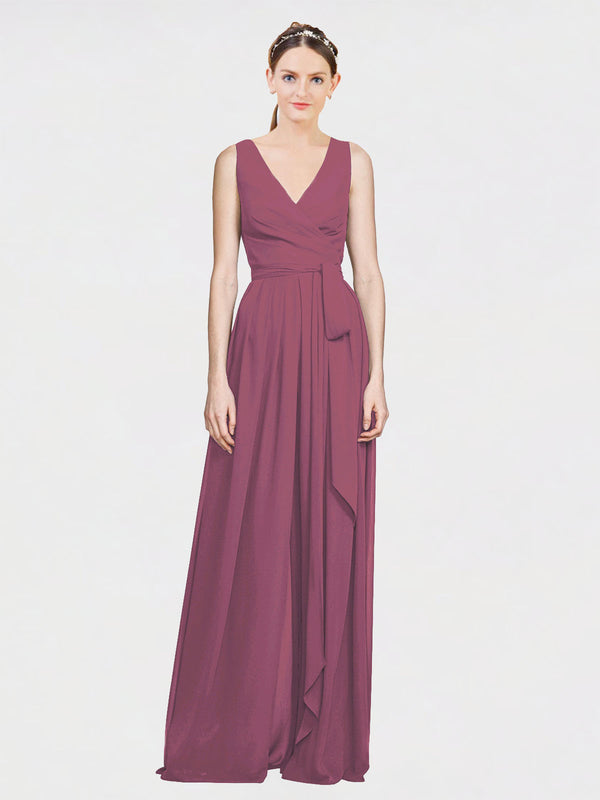 Mila Queen Kia Bridesmaid Dress Mauve Taupe - A-Line V-Neck Long Bridesmaid Gown Kia in Mauve Taupe