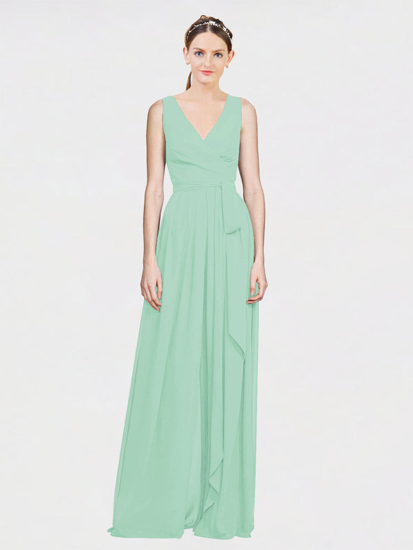 Mila Queen Kia Bridesmaid Dress Mint Green - A-Line V-Neck Long Bridesmaid Gown Kia in Mint Green