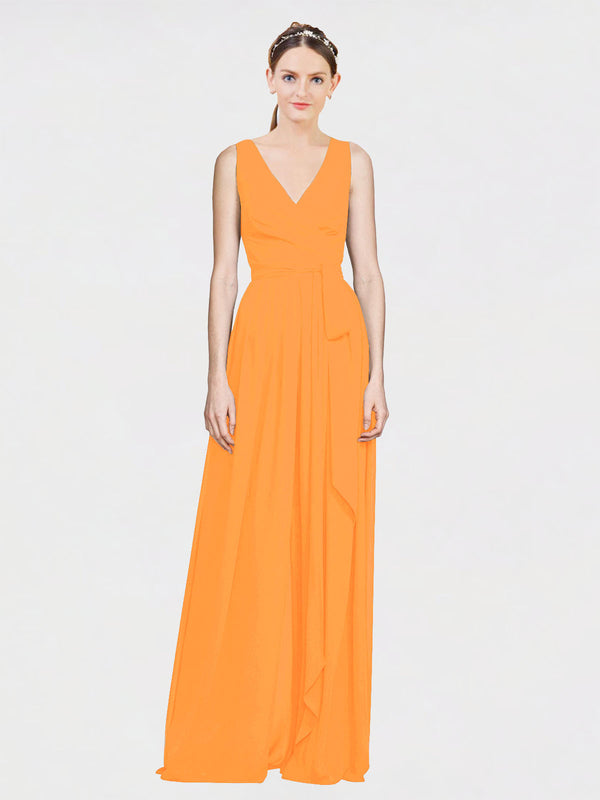 Mila Queen Kia Bridesmaid Dress Orange - A-Line V-Neck Long Bridesmaid Gown Kia in Orange