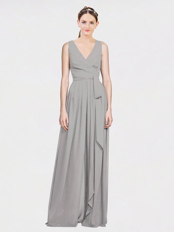 Mila Queen Kia Bridesmaid Dress Oyster Silver - A-Line V-Neck Long Bridesmaid Gown Kia in Oyster Silver