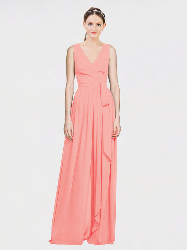 Mila Queen Kia Bridesmaid Dress Peach - A-Line V-Neck Long Bridesmaid Gown Kia in Peach