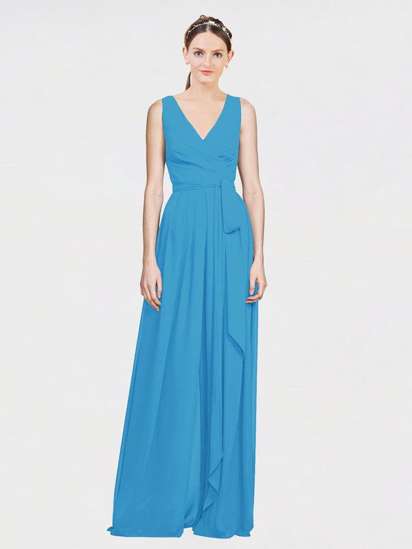 Mila Queen Kia Bridesmaid Dress Peacock Blue - A-Line V-Neck Long Bridesmaid Gown Kia in Peacock Blue