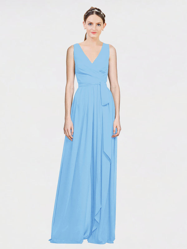 Mila Queen Kia Bridesmaid Dress Periwinkle - A-Line V-Neck Long Bridesmaid Gown Kia in Periwinkle