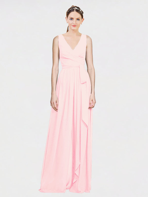 Mila Queen Kia Bridesmaid Dress Pink - A-Line V-Neck Long Bridesmaid Gown Kia in Pink