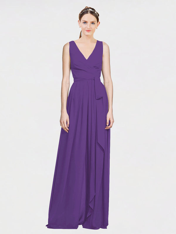 Mila Queen Kia Bridesmaid Dress Plum Purple - A-Line V-Neck Long Bridesmaid Gown Kia in Plum Purple