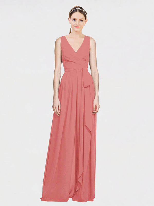 Mila Queen Kia Bridesmaid Dress Rosewood - A-Line V-Neck Long Bridesmaid Gown Kia in Rosewood