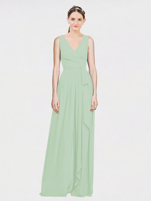 Mila Queen Kia Bridesmaid Dress Sage - A-Line V-Neck Long Bridesmaid Gown Kia in Sage