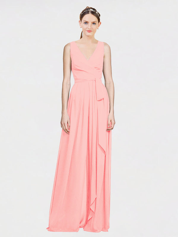 Mila Queen Kia Bridesmaid Dress Salmon - A-Line V-Neck Long Bridesmaid Gown Kia in Salmon