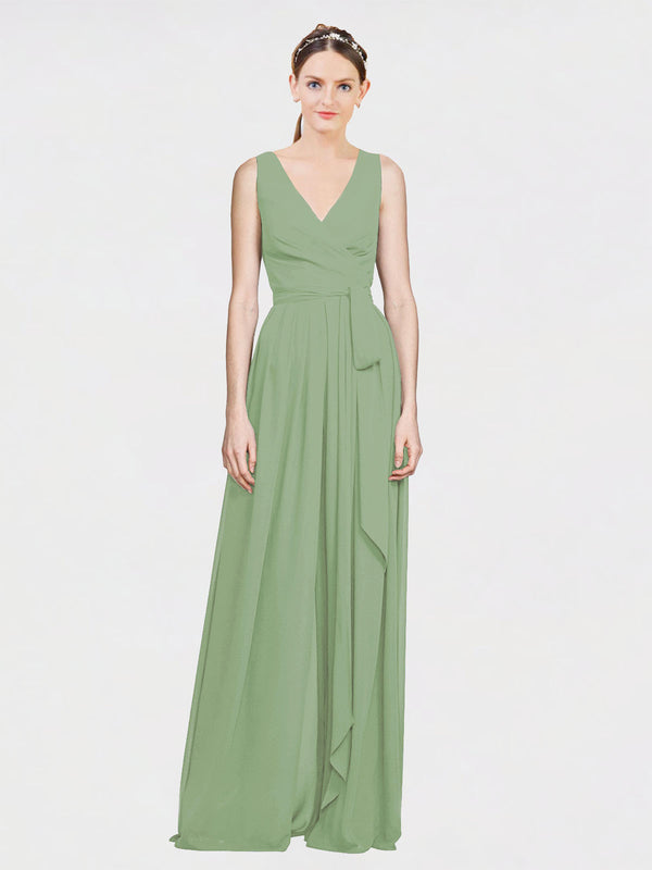 Mila Queen Kia Bridesmaid Dress Seagrass - A-Line V-Neck Long Bridesmaid Gown Kia in Seagrass
