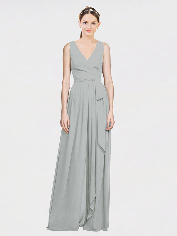 Mila Queen Kia Bridesmaid Dress Silver - A-Line V-Neck Long Bridesmaid Gown Kia in Silver