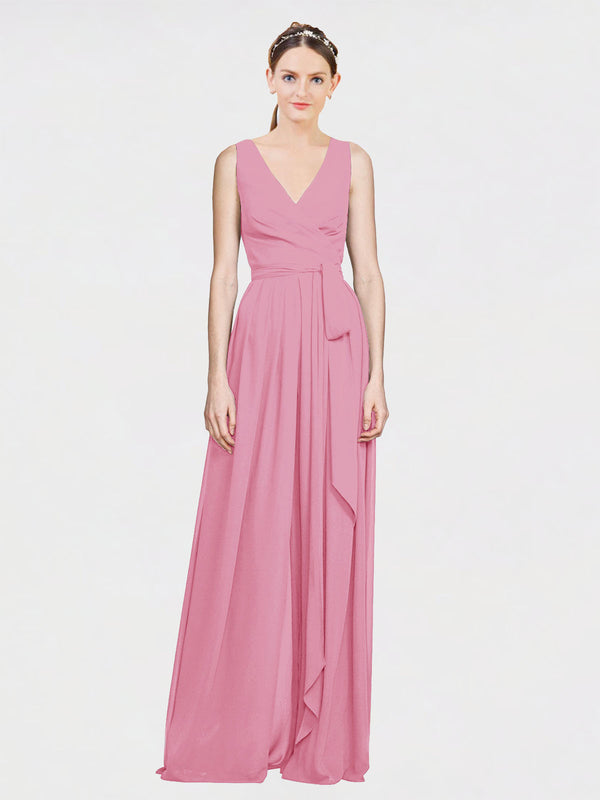 Mila Queen Kia Bridesmaid Dress Skin Pink - A-Line V-Neck Long Bridesmaid Gown Kia in Skin Pink