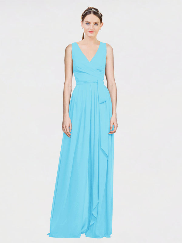 Mila Queen Kia Bridesmaid Dress Sky Blue - A-Line V-Neck Long Bridesmaid Gown Kia in Sky Blue