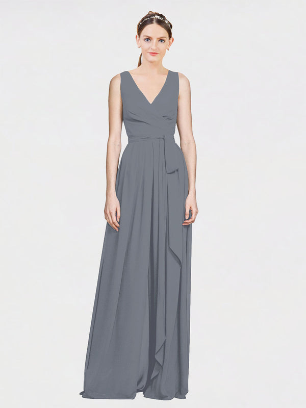 Mila Queen Kia Bridesmaid Dress Slate Grey - A-Line V-Neck Long Bridesmaid Gown Kia in Slate Grey