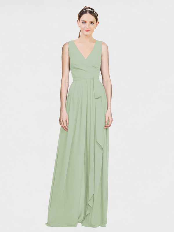 Mila Queen Kia Bridesmaid Dress Smoke Green - A-Line V-Neck Long Bridesmaid Gown Kia in Smoke Green