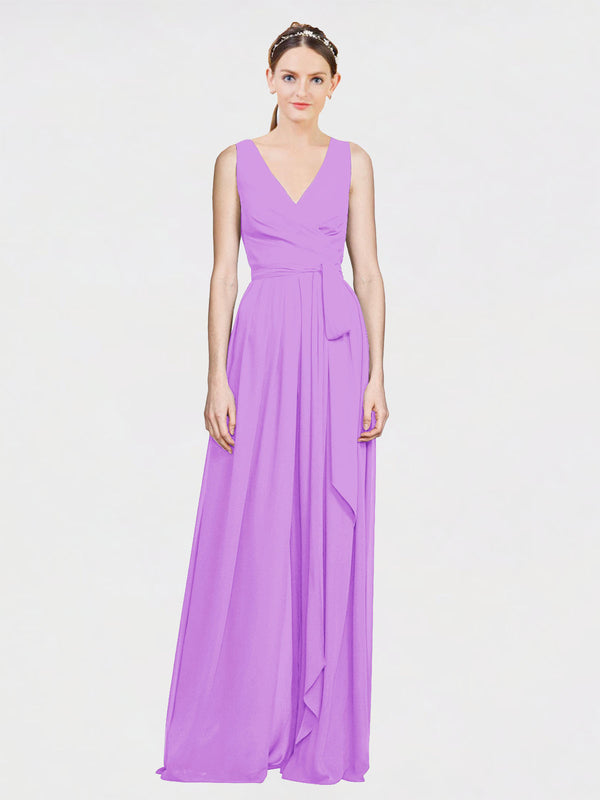 Mila Queen Kia Bridesmaid Dress Violet - A-Line V-Neck Long Bridesmaid Gown Kia in Violet