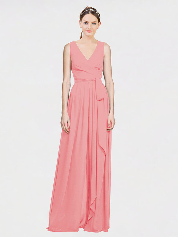 Mila Queen Kia Bridesmaid Dress Watermelon - A-Line V-Neck Long Bridesmaid Gown Kia in Watermelon