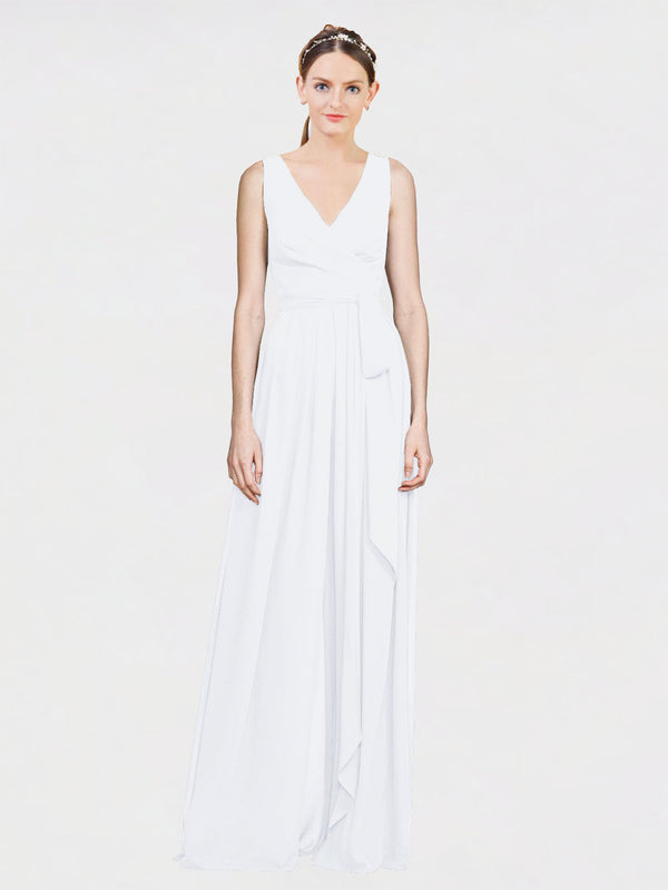 Mila Queen Kia Bridesmaid Dress White - A-Line V-Neck Long Bridesmaid Gown Kia in White
