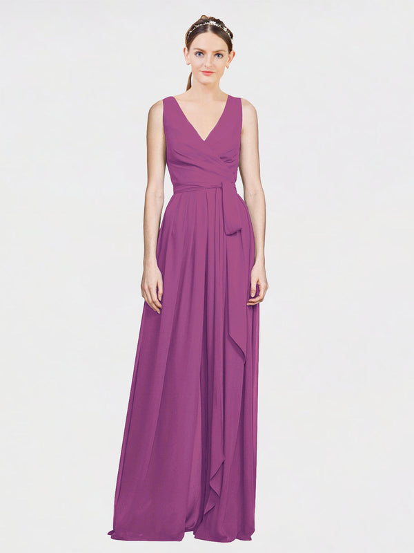 Mila Queen Kia Bridesmaid Dress Wild Berry - A-Line V-Neck Long Bridesmaid Gown Kia in Wild Berry
