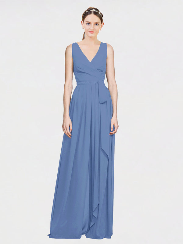 Mila Queen Kia Bridesmaid Dress Windsor Blue - A-Line V-Neck Long Bridesmaid Gown Kia in Windsor Blue