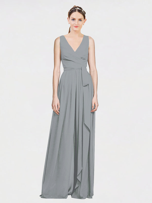 Mila Queen Kia Bridesmaid Dress Wisteria - A-Line V-Neck Long Bridesmaid Gown Kia in Wisteria