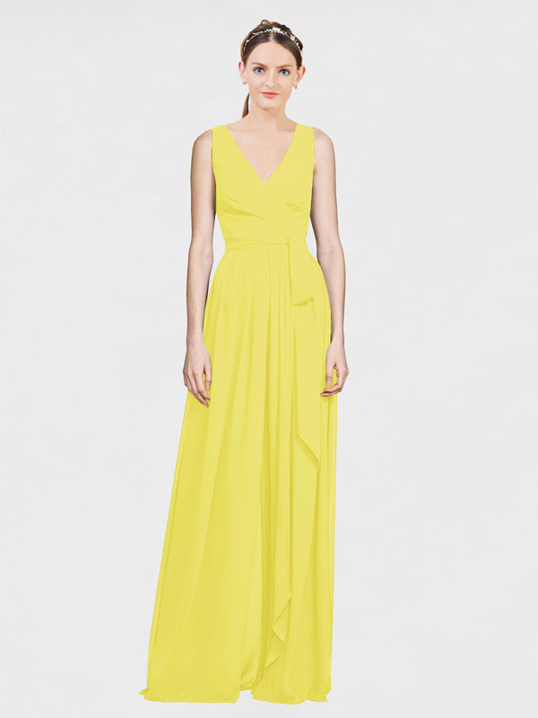 Mila Queen Kia Bridesmaid Dress Yellow - A-Line V-Neck Long Bridesmaid Gown Kia in Yellow