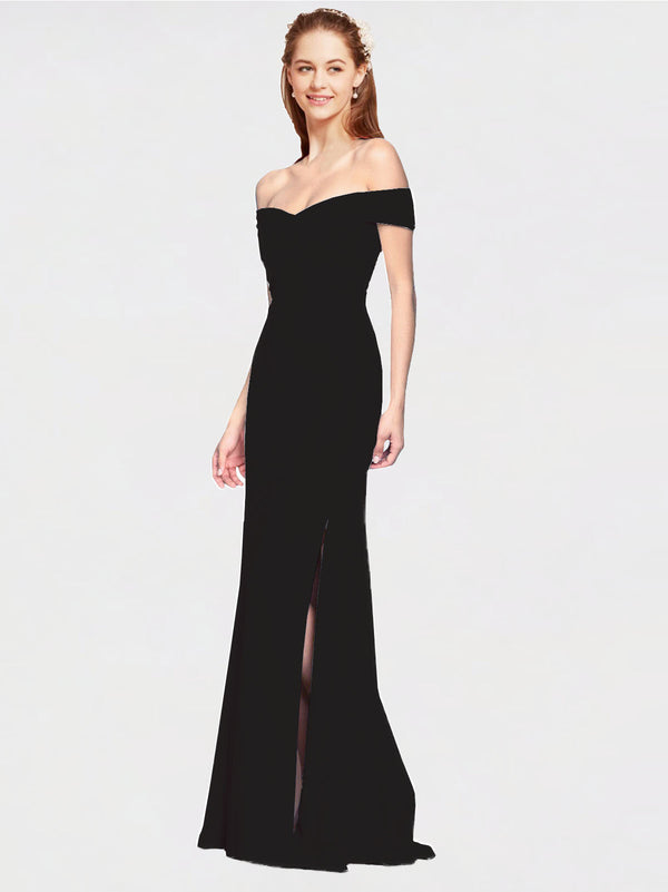 Black Mermaid Off the Shoulder Sleeveless Long Crepe Bridesmaid Dress Thitina