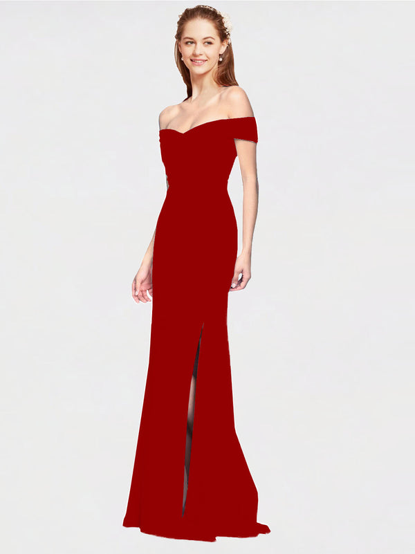 Burgundy Mermaid Off the Shoulder Sleeveless Long Crepe Bridesmaid Dress Thitina
