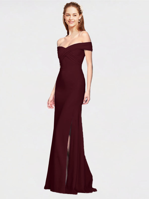 Burgundy Gold Mermaid Off the Shoulder Sleeveless Long Crepe Bridesmaid Dress Thitina