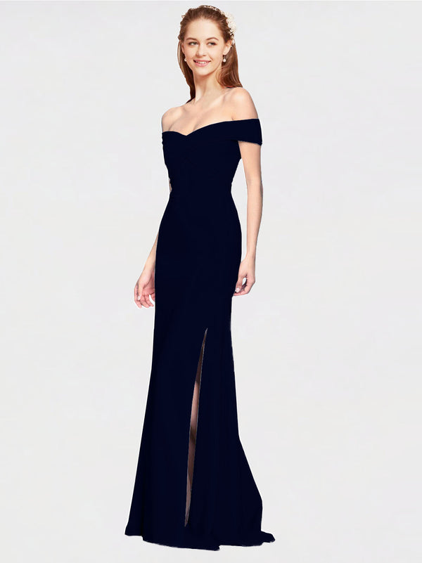Dark Navy Mermaid Off the Shoulder Sleeveless Long Crepe Bridesmaid Dress Thitina