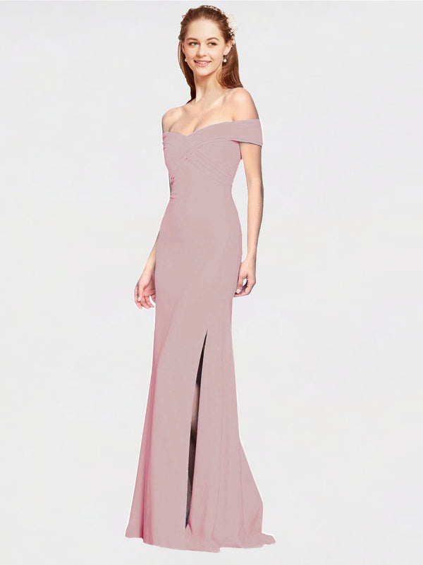Dusty Pink Mermaid Off the Shoulder Sleeveless Long Crepe Bridesmaid Dress Thitina