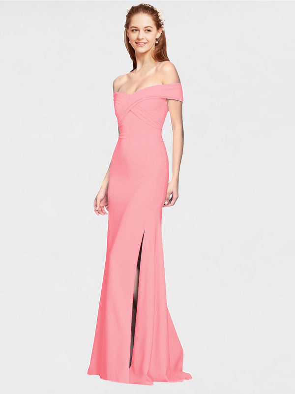 Hot Pink Mermaid Off the Shoulder Sleeveless Long Crepe Bridesmaid Dress Thitina