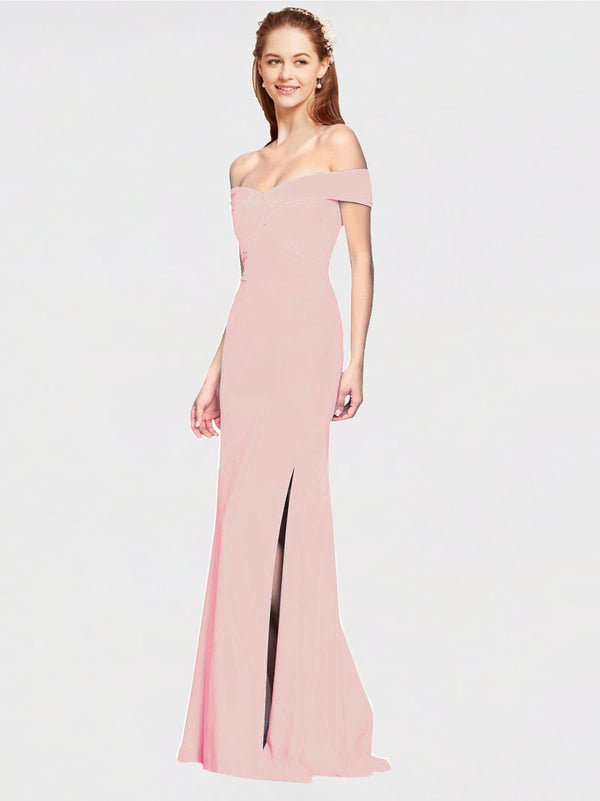 Ice Pink Mermaid Off the Shoulder Sleeveless Long Crepe Bridesmaid Dress Thitina