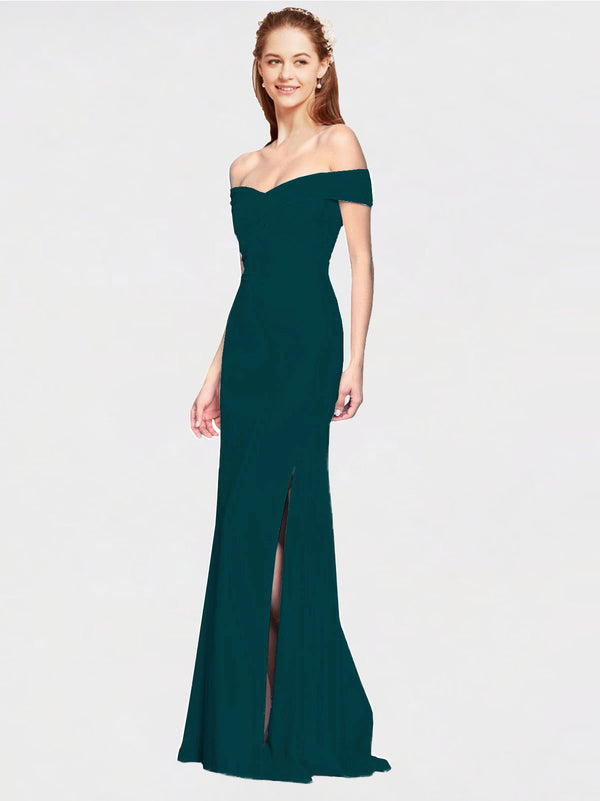 Midnight Green Mermaid Off the Shoulder Sleeveless Long Crepe Bridesmaid Dress Thitina