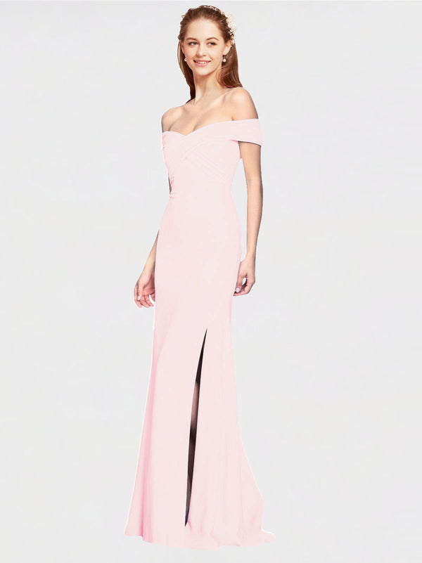 Pink Mermaid Off the Shoulder Sleeveless Long Crepe Bridesmaid Dress Thitina