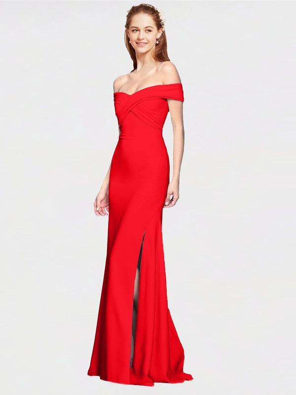 Red Mermaid Off the Shoulder Sleeveless Long Crepe Bridesmaid Dress Thitina