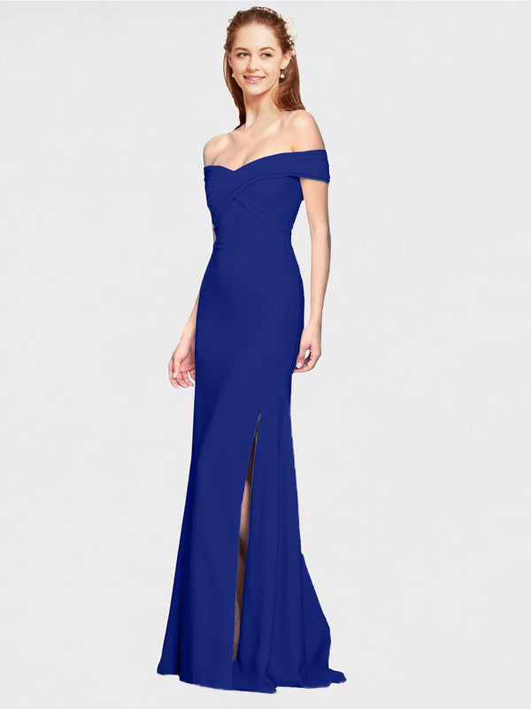 Royal Blue Mermaid Off the Shoulder Sleeveless Long Crepe Bridesmaid Dress Thitina