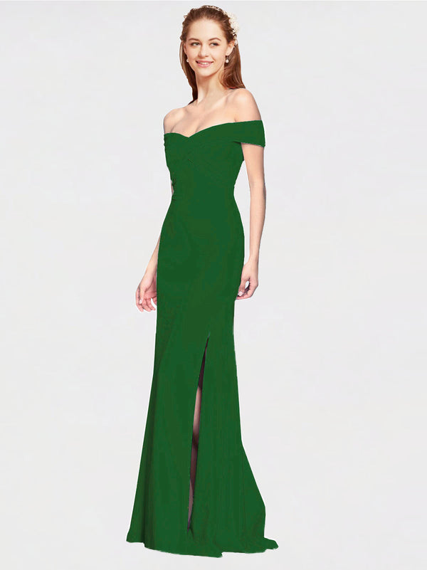 Shamrock Green Mermaid Off the Shoulder Sleeveless Long Crepe Bridesmaid Dress Thitina