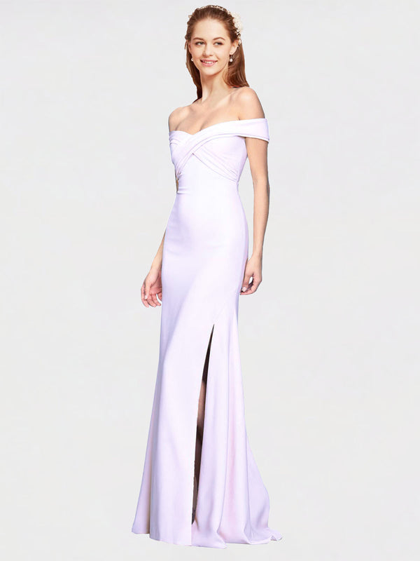 White Mermaid Off the Shoulder Sleeveless Long Crepe Bridesmaid Dress Thitina